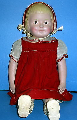 "VTG. 16"" Girl Doll Dressed Martha Chase Hospital Cotton Stockinet Hand Painted"