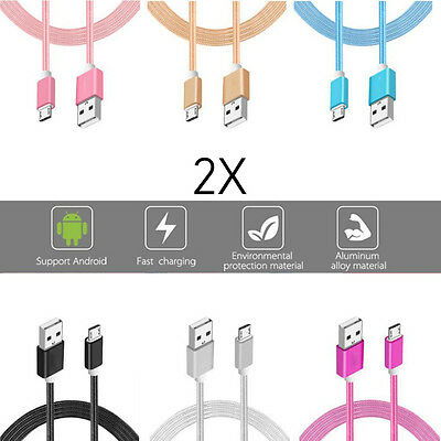 2x LOT Rapid Charge Micro USB Cable Fast Charging Cord For Samsung Android Bulk