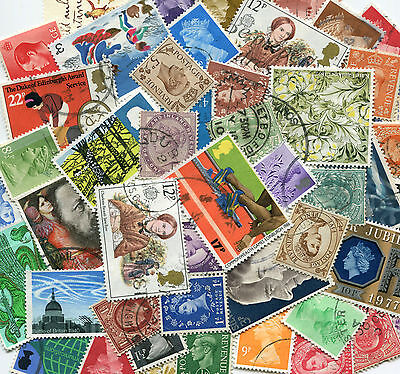 GB: 50 Mixed Reign stamps All Different OFF PAPER  Good Used  *Free Post*