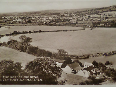 Real Photo Postcard The Horseshoe Bend River Towy Carmarthen