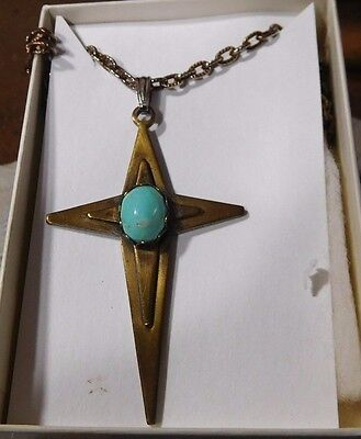 "Turquoise on Brass 24"" Necklace"