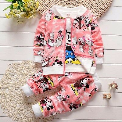 NEW!Girl MICKEY 3 pcs clothing set outfit tracksuit (top+jacket+pants) 3-4 years