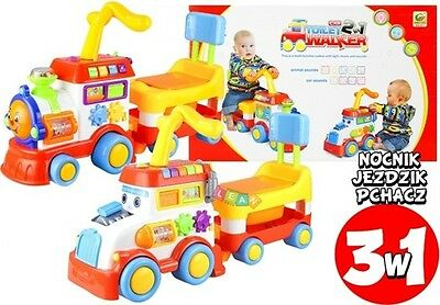 3 in 1 Educational Pull Along Push Along Walker  With Lights And Sounds