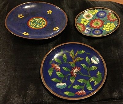 Three Beautiful Antique Cloisonne Dishes