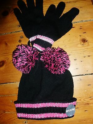 Girls M&s Reflective Hat & Gloves Set Age 3-6 Years New