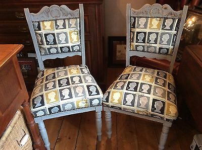Pair of Shabby Chic Grey Dining Chairs Upholstered