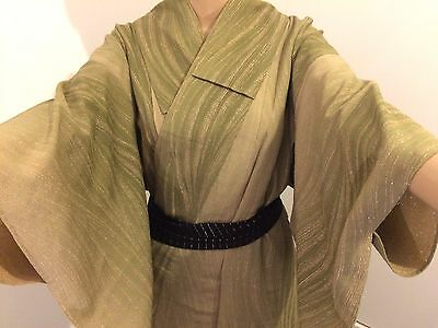 Authentic handmade Japanese green kimono for women, Japan import (I535)