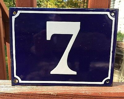 "Vintage Door House Blue White Porcelain No #7 Sign Plaque Neat DECOR PIECE 8""x6"""