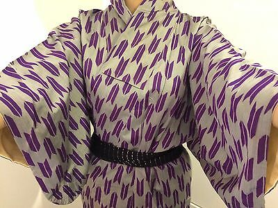 Authentic vintage handmade Japanese silk kimono for women, grey purple (I536)