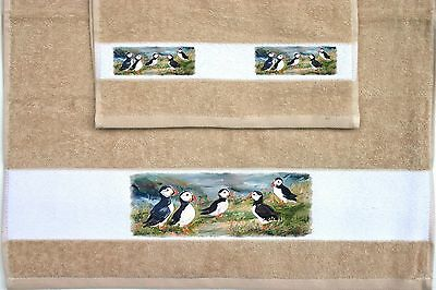 PUFFIN SEABIRD DESIGN SET HAND and GUEST TOWELS SANDRA COEN ARTIST PRINT