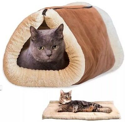 2 In 1 Amazing Magic Self Heating Thermal Warm Mat Pet Tunnel Bed Cat Dog Puppy