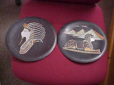 Egyptian Antique pair copper wall plaques sphinx pyramids pharoh