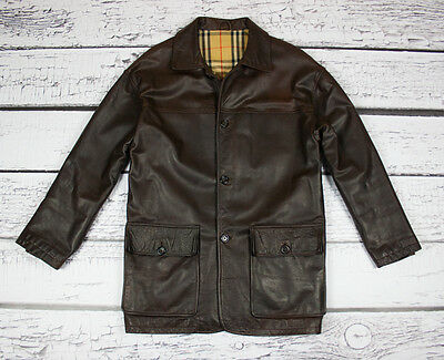 Burberry Excellent Mens Brown Genuine Leather Coat Jacket Size L