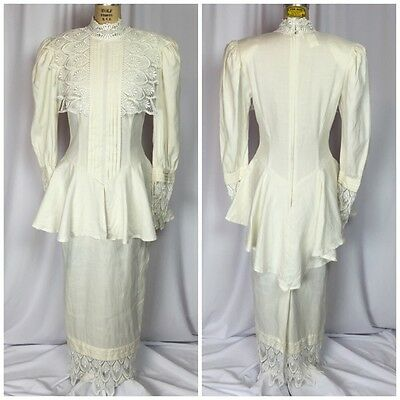 Vintage Jessica McClintock Victorian Linen & Lace Tea Length Bridal Dress. 8