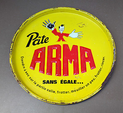 Ancien plateau PATE ARMA vintage métal pub SANS EGALE advertising metal tray