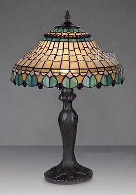"""Ideal Christmas Gift-Peacock Tiffany Style Handcrafted Glass Table Lamp 12"""" Wide"""