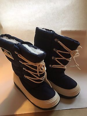 Kids Blue & White Snow Winter Boots Size 3 New
