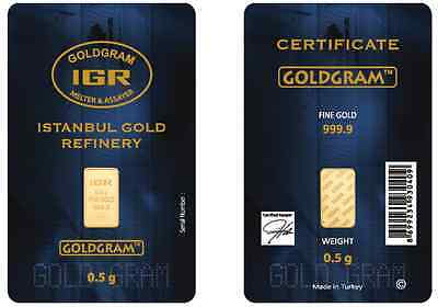IGR Mint 1/2 Gram 999.9 Gold Bar Sealed with Assay Certificate 24 Karat