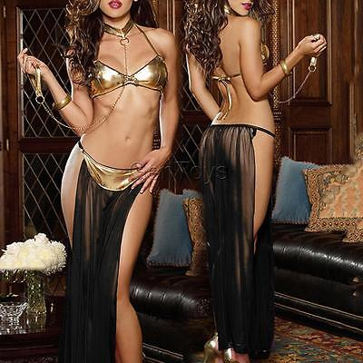Sexy Charming Women's Patent leather Net Yarn Perspective Women Prisoners Sets