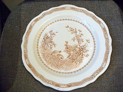 Furnivals 1913 Quail Brown Dinner Plate England 12 INCH No 684771