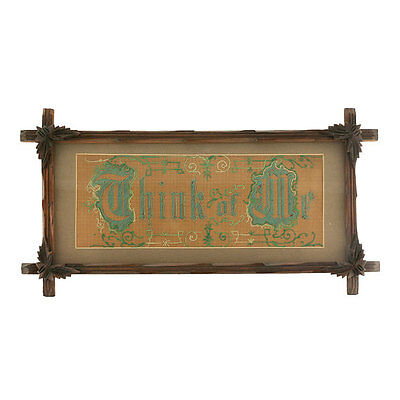 Victorian Embroidery Punched Paper in Antique Adirondack Frame 1800s