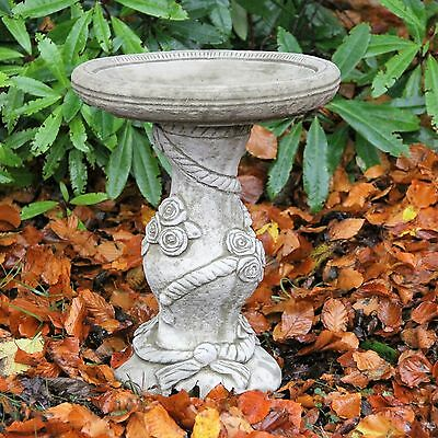Rose Bird Bath Feeder Detailed Garden Ornament Table Stone Hand Cast Decor