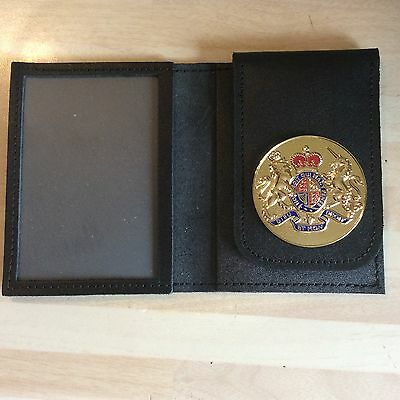 Leather ID Card Wallet With Coat Of Arms Badge