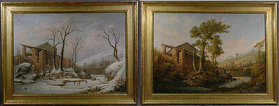 19th Century Pair of Oil Landscapes Continental School Winter and Summer