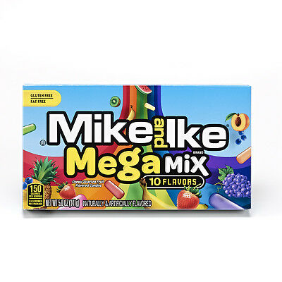Mike and Ike Megamix 10 Flavor Candies - Brand New US Version 1 x Theatre Box