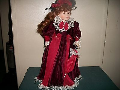 Beautiful Porcelean Doll With Burgundy Lace Dress