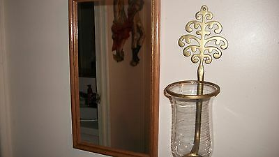 Mirror In Wood Frame With Very Vintgage Home Interior Sconce With Glass Votive-