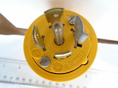 Ge 2321 4 Pole 5 Wire 20 Amp 347/600 Volt 3 Phase Male Locking Connector Yellow