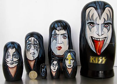 KISS Very Rare 7 Piece Hand Painted Russian Wooden Doll Set  with  Vinnie + Eric