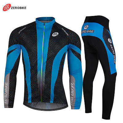 Men Winter Cycling Jerseys&Pants Set Thermal Fleece Long Sleeve Bicycle Clothing