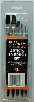 Harris Artist 10 Piece Paint Brush Set Fine Detail Crafts Hobbies Art Painting