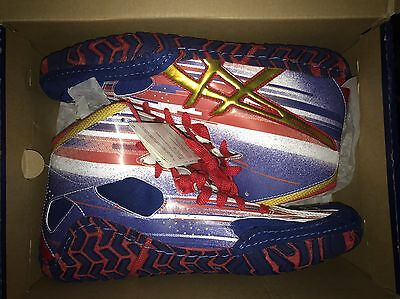New Asics Aggressor 2 Wrestling Shoes Red/Navy/Gold Size 10.5