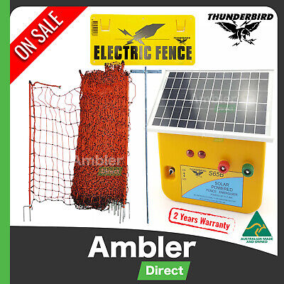 Thunderbird S65B 7.5km Solar Electric Fence Energiser Poultry Netting Earth Sign