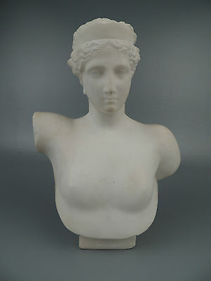 Old or Antique Alabaster Bust of Ebe Hebe - Greek Goddess of Youth Sculpture VR
