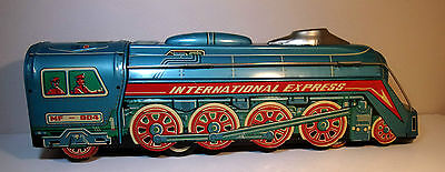 Tin Plate Locomotive International Express push toy with noise made in China