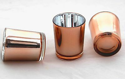 24 Copper Coated Glass Tealight Votive Candle Holder Wedding Table Bling Decor