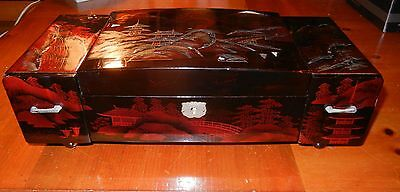 Large Vintage Japanese Asian Midcentury Lacquered Wood Jewelry Music Box MOP