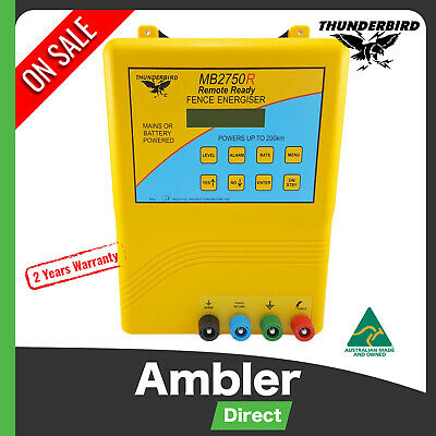Thunderbird 200km Mains & Battery Electric Fence Energiser Charger Solar MB2750R