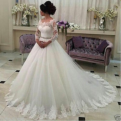 2016 NEW White/Ivory Wedding Dress Bridal Gown Custom Size 6 8 10 12 14+++ ++++
