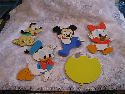 Mickey Mouse Wall Plaque Pin Ups 5 Piece Set Disney Wall Plaques  1984