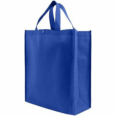 Reusable Grocery Tote Bag Large 10 Pack Royal Blue Eco Friendly Shopping Bags