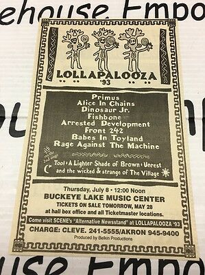 Lollapalooza 1993 Primus RATM Alice In Chains Etc Vintage Newspaper Ad Clipping