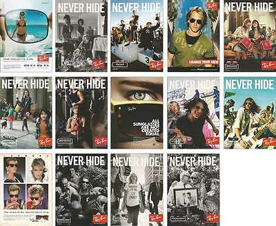 Lot, 1988-to date, 14 PRINT ADs for Ray Ban sunglasses ADVERTISING PAGES