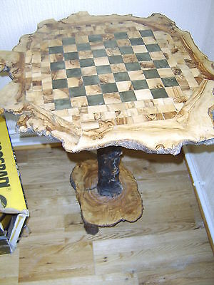 Stunning and Unusual Tree Trunk Chess Table