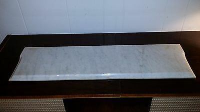 "WHITE & GREY RECTANGULAR MARBLE SLAB TOP TABLE SHELF 28"" x 8"" x  3/4"""
