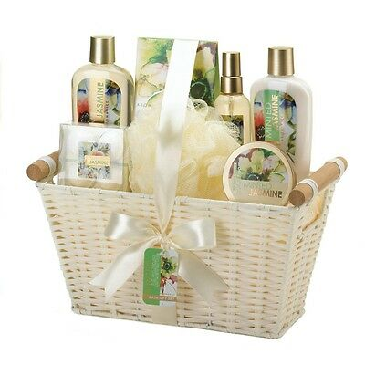 Minted Jasmine White Basket Spa Set - Bath and Body Gift Set for Her